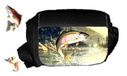 Personalised Fishing Tackle Bag Side Pouch \ Trout Jumping